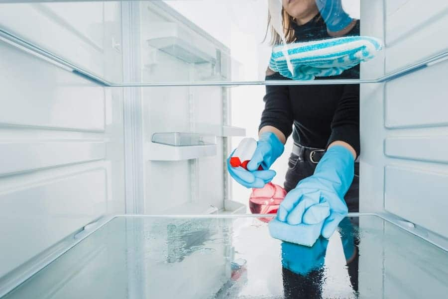 A woman cleaning off shelves of a refrigerator with vinegar and water.