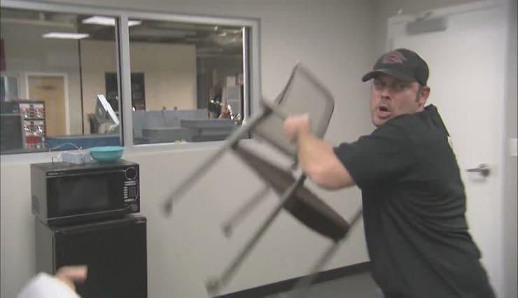 Paul Jr. is throwing a chair