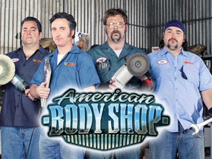 The actors in American Body Shop with the show name written across