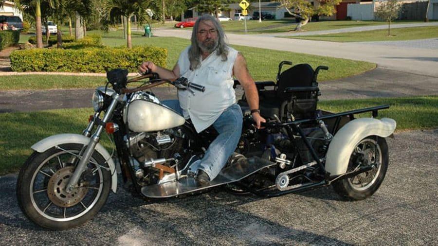 Chris Tavantzis on his wheelchair accessible bike