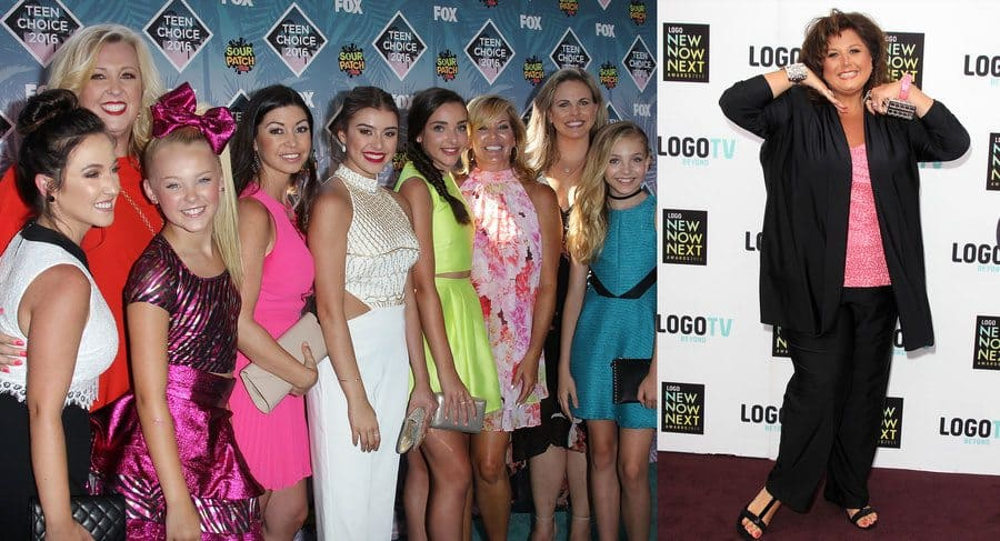 The Dance Moms cast are with their mothers at the Teen Choice Awards in 2016. / Abby Lee Miller at an awards ceremony in 2013.