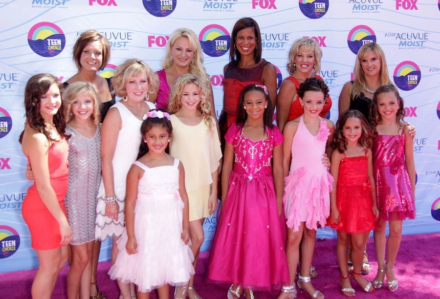 The crew of Dance Moms and their mothers at the 2012 Teen Choice Awards