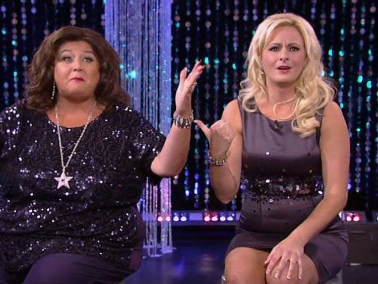 Abby Lee Miller and Christi are mid-fight on the Dance Moms aftershow.