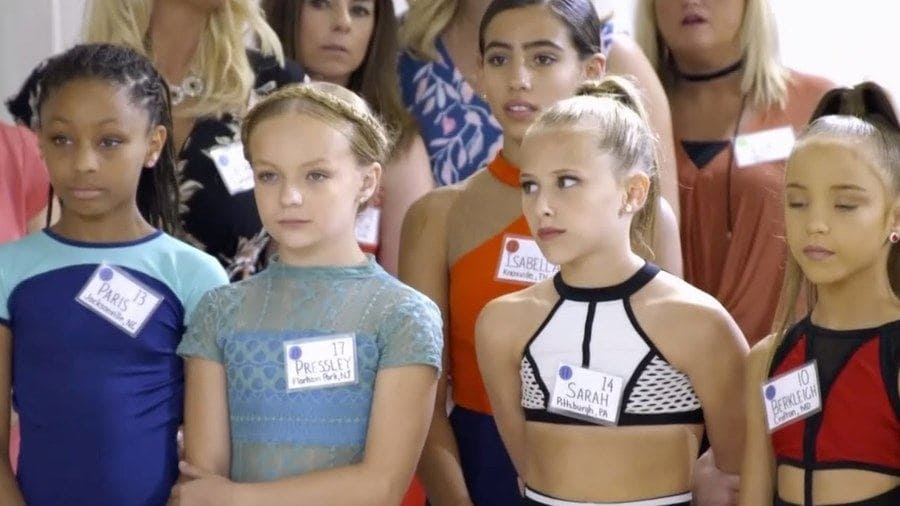 Dance Moms auditions with Paris, Pressley, Sarah, Berkleigh, and Isabella, and their moms were standing behind them.