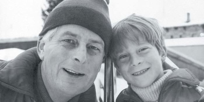 Bear Grylls as a child with his father, Michael