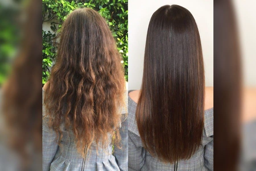 Women with splits in her hair and women without splits side by side