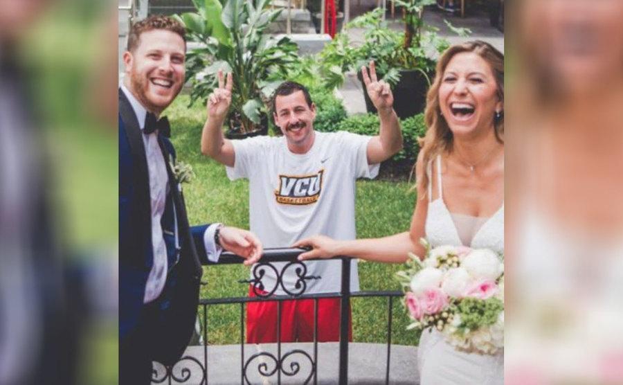 Adam Sandler at a couple's wedding