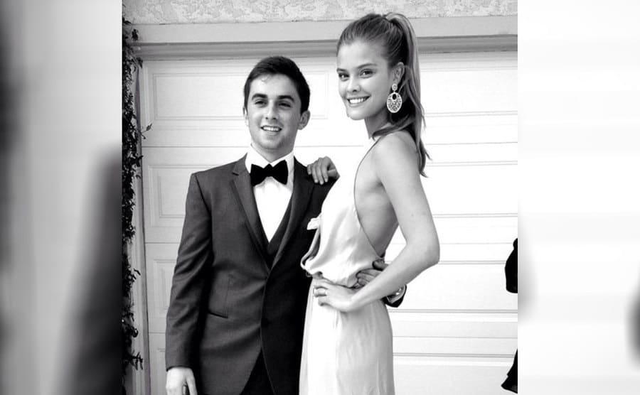 Nina Agdal and Jake Davidson dressed for prom