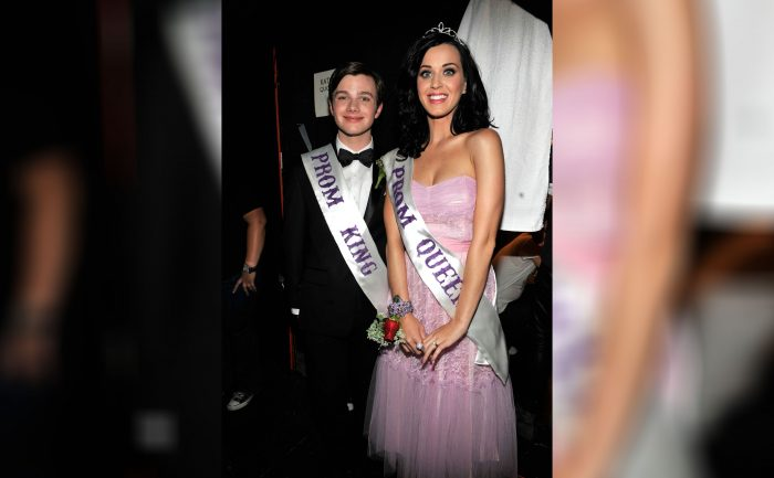 Katy Perry and Chris Colfer as prom king and queen at the Teen Choice Awards in 2010.
