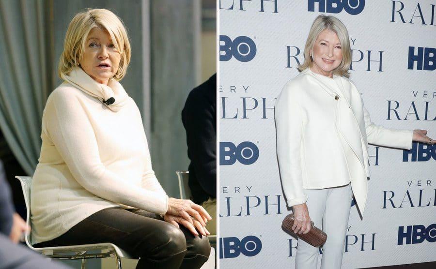 Martha Stewart at the Philadelphia Flower Show, 2018. / Martha Stewart was wearing all white at the 'Very Ralph' film premiere in 2019.