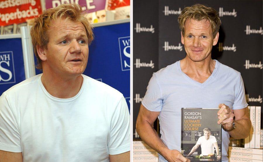 Gordon Ramsey at his book signing in 2006. / Gordon Ramsey at his book signing in 2012.