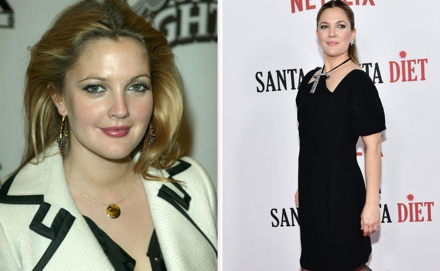 Drew Barrymore in 2003. / Drew Barrymore in 2017.