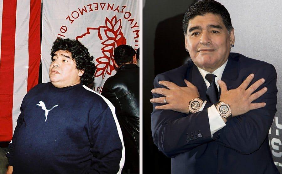 Diego Armando Maradona in 2005. / Diego Armando Maradona in 2017.