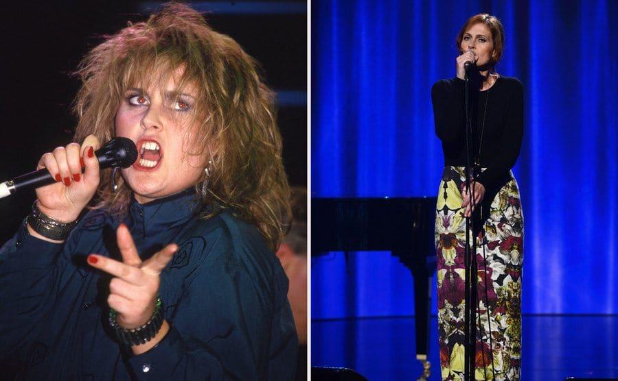 Alison Moyet in 1984. / Alison Moyet was performing in 2013.