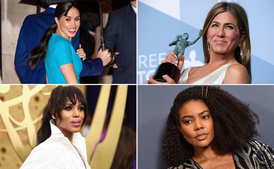 Meghan Markle, March 2020. / Jennifer Aniston in January 2020. / Kerry Washington in September 2019. / Gabrielle Union in September 2019.