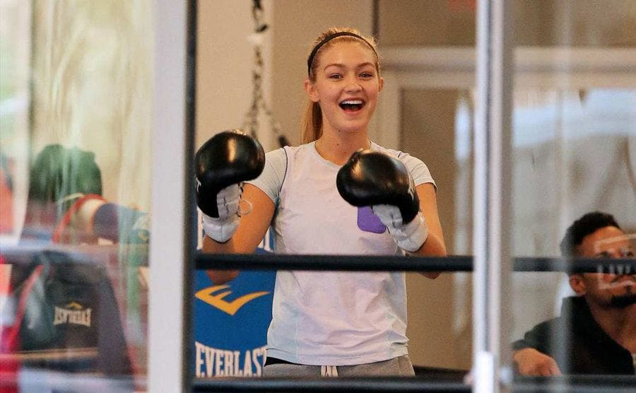 Gigi Hadid with boxing gloves on
