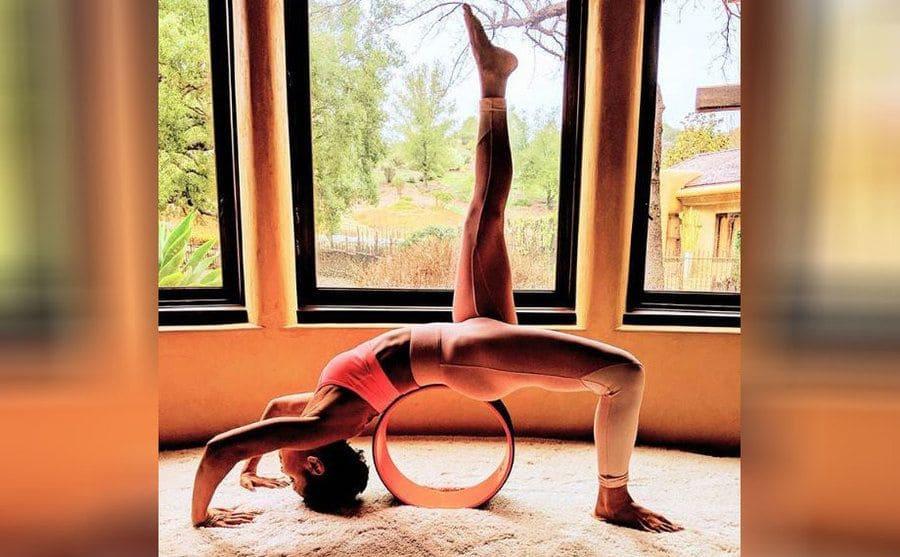 Jada Pinkett Smith doing yoga