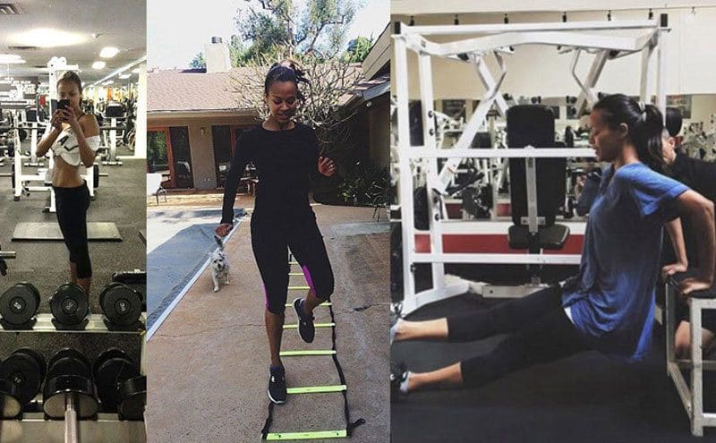 A collage of Zoe Saldana at the gym and working out at home next to her pool