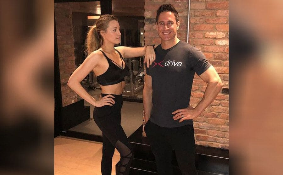 Blake Lively with her trainer, Don Saladino, at the gym