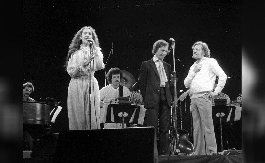 Celine Dion in 1982, with Jean-Pierre Ferland and Claude Levillee.