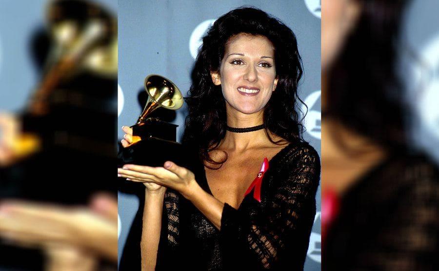 Celine Dion was holding her Grammy in 1993.
