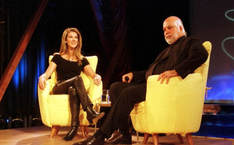 Celine Dion and Rene Angélil at her album launch for 'Let's Talk About Love,' 1997.