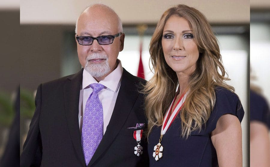 Celine Dion with Rene Angelil after she receives the Order of Canada, Quebec City, on July 26th, 2013.