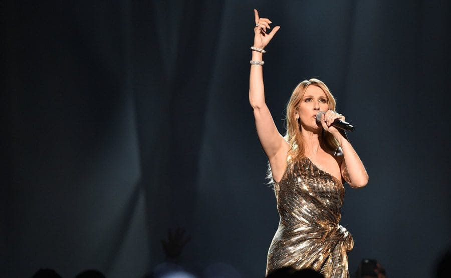 Celine Dion was pointing her finger up towards the sky during a performance at the Billboard Music Awards on May 22nd, 2016.