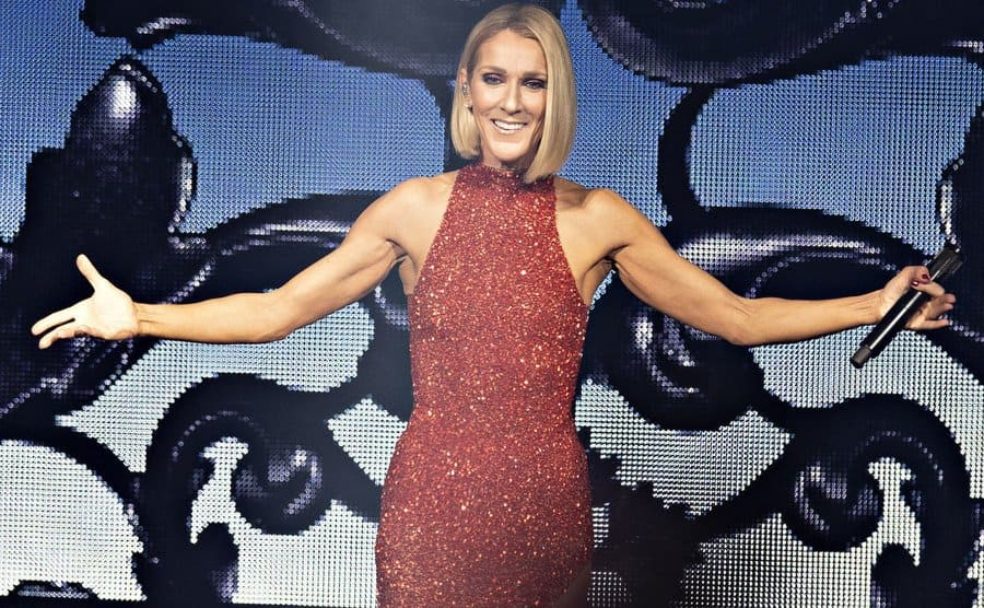 Celine Dion on her World Tour in a sparkling red dress.