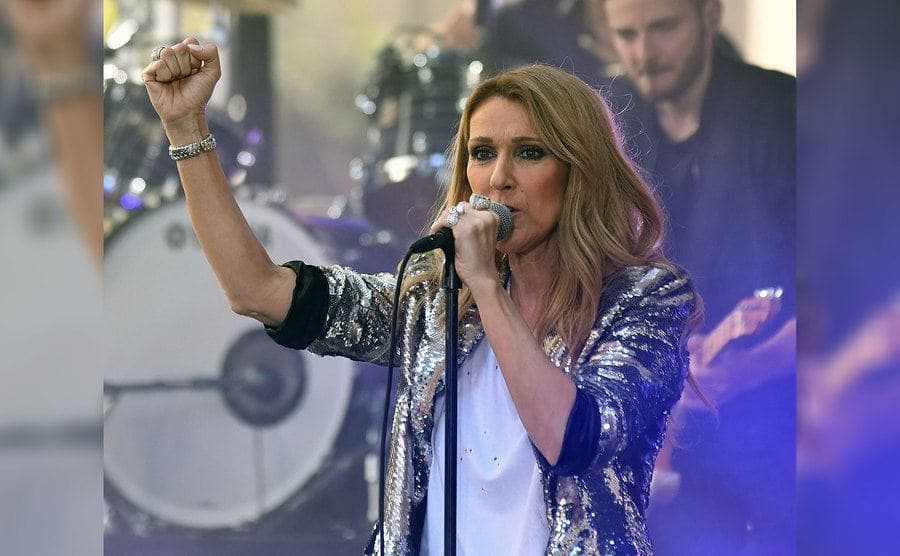 Celine Dion was performing on the Today Show with her fist in the air.