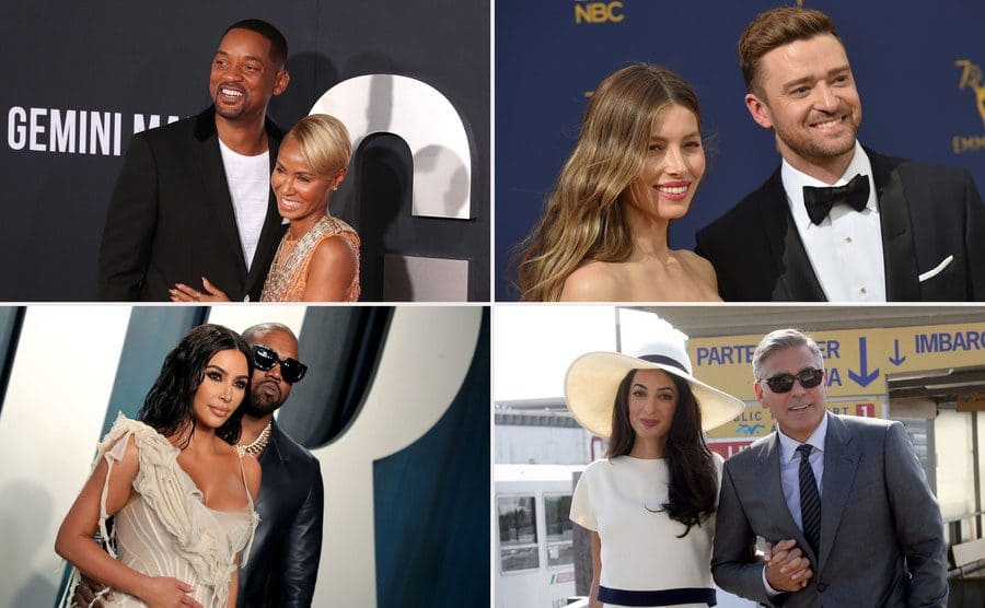 Jada Pinkett Smith and Will Smith at the Gemini Man film premiere in October 2019. / Jessica Biel and Justin Timberlake at the Emmy Awards in September 2018. / Kim Kardashian and Kanye West at the Vanity Fair Oscar Party in February 2020. / George Clooney and Amal Alamuddin leaving their civil ceremony in September 2014.