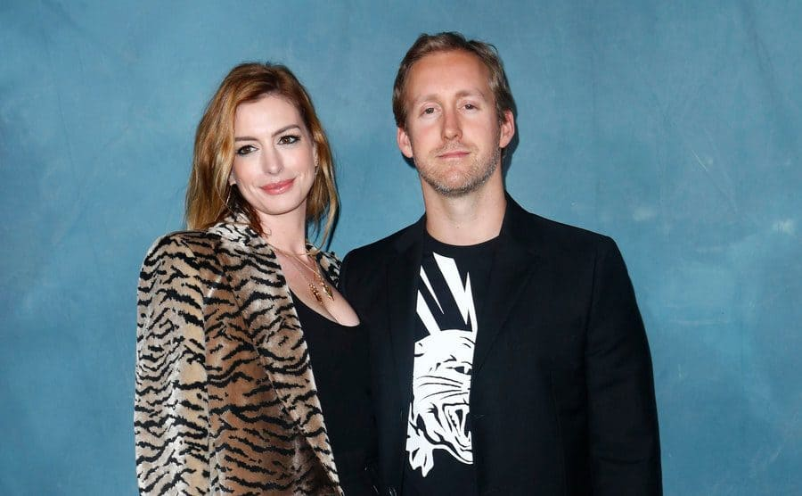 Anne Hathaway and Adam Shulman at the Givenchy show in September 2018.