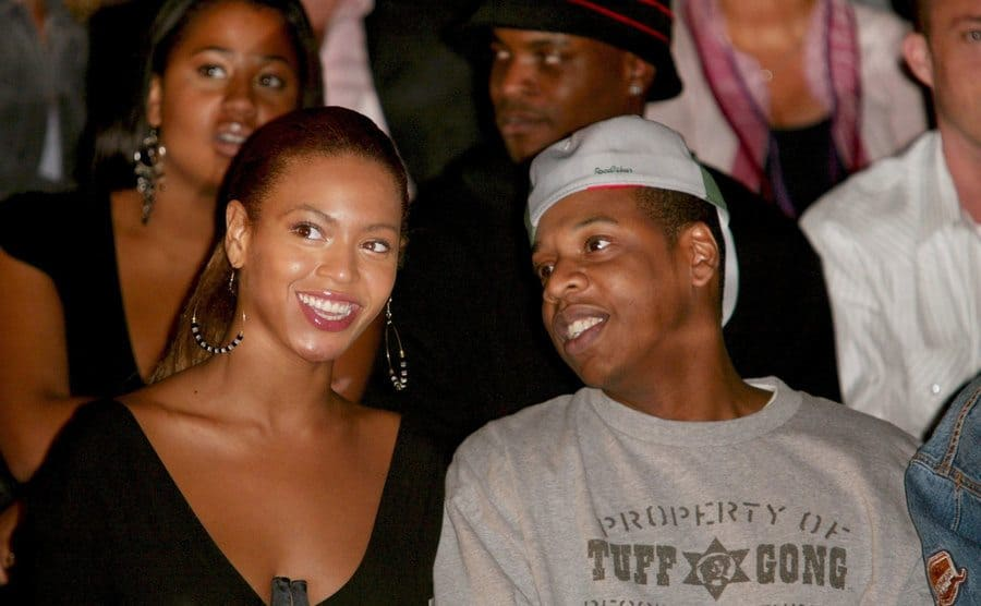 Beyonce and Jay-Z at the Mercedes-Benz Fashion Week, September 2003.