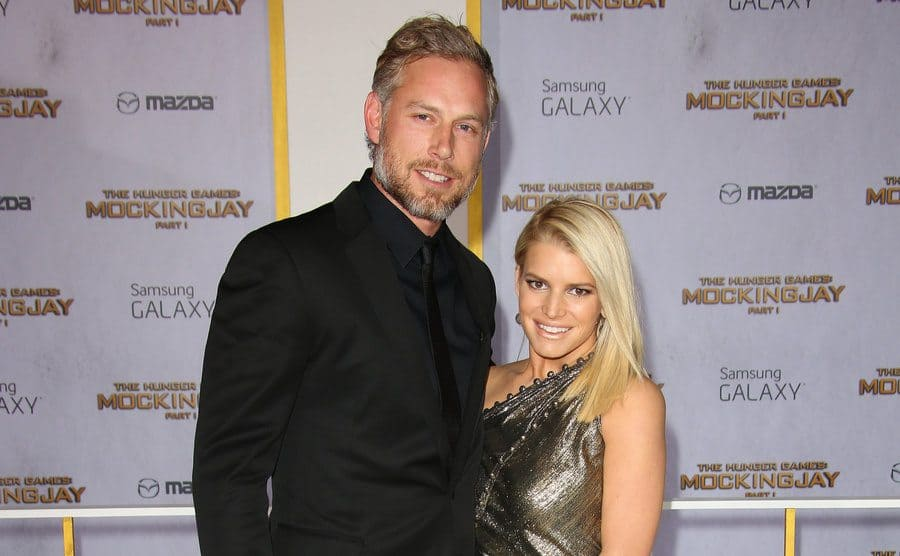 Jessica Simpson and Eric Johnson at The Hunger Games: Mockingjay Part 1' film premiere in November 2014.