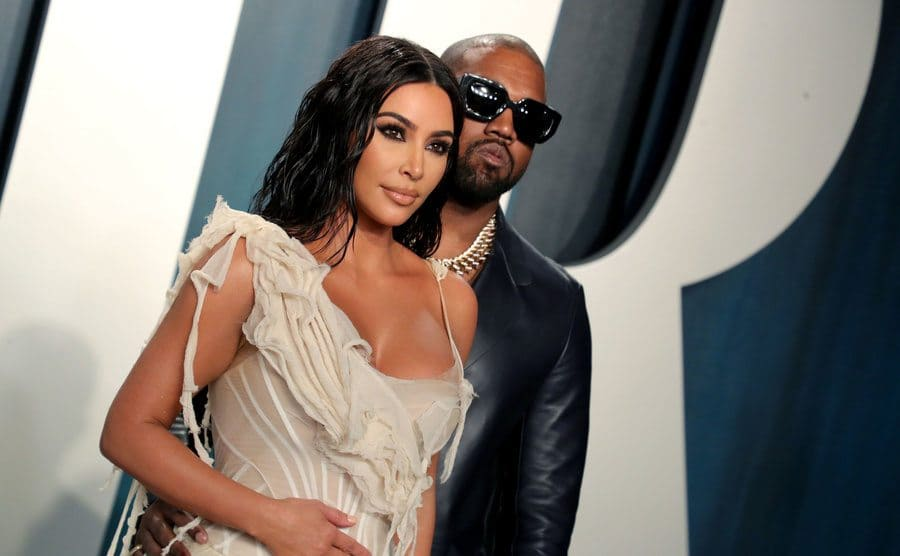 Kim Kardashian and Kanye West at the Vanity Fair Oscar Party in February 2020.