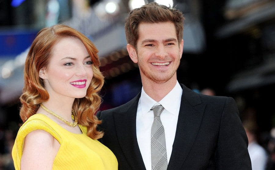 Andrew Garfield and Emma Stone at 'The Amazing Spiderman 2' film premiere in April 2014.