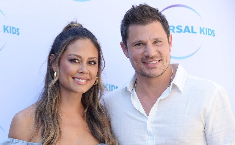 Vanessa Minnillo and Nick Lachey at the 'American Ninja Warrior Junior' and 'Top Chef Junior' TV show premiere in October 2018.