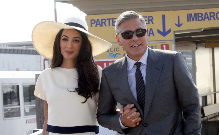 George Clooney and Amal Alamuddin leaving their civil ceremony in September 2014.