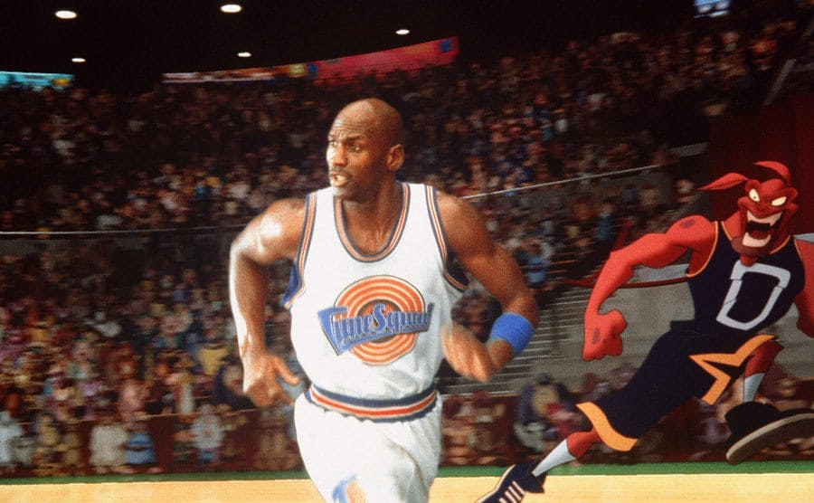 Michael Jordan is on the court in the film Space Jam