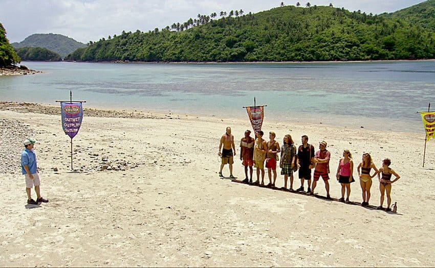 Contestants standing in a row with Jeff standing across from them on Survivor