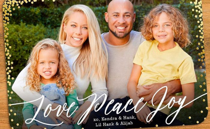 Holiday card with Kendra Wilkinson, Hank Baskett, and their kids