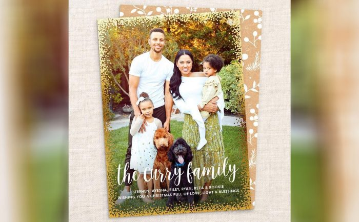 Holiday card with Steph and Ayesha Curry