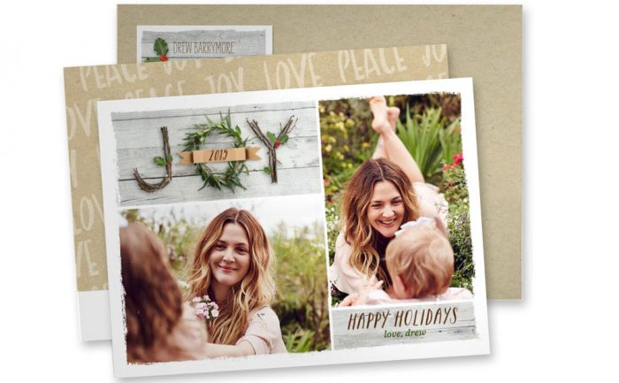 Holiday card with Drew Barrymore and her daughters who are not facing the camera