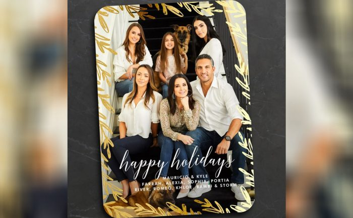 Holiday card of Kyle Richards and her family