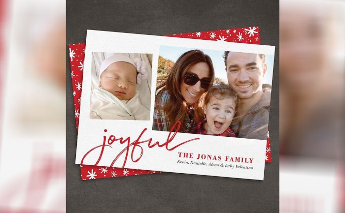 Holiday card of Kevin Jonas and his wife Danielle