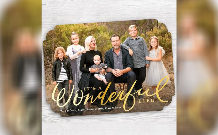 Holiday card of Tori Spelling and her family