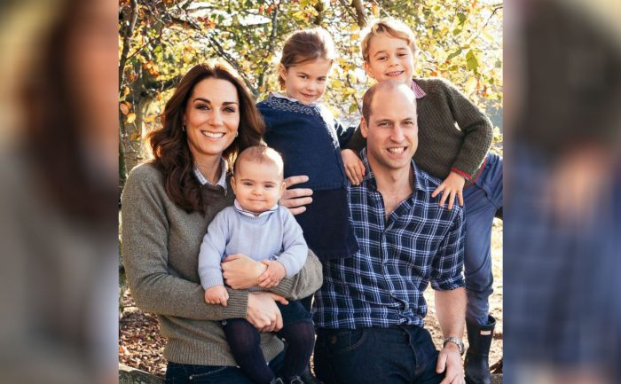 Photo of Prince William, Kate Middleton, and their children outside