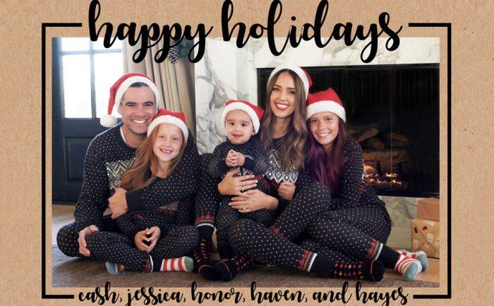 Holiday card of Jessica Alba, her husband Cash Warren, and their children