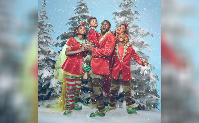 A photo of Kevin Hart and his family in a winter scene