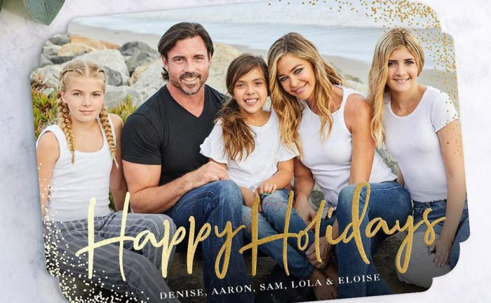 Holiday card of Denise Richards, her husband Aaron Phypers, and their kids